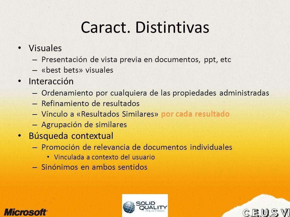 Caract. Distintivas Visuales – Presentación de vista previa en documentos, ppt, etc – «best bets» visuales Interacción – Ordenamiento por cualquiera d
