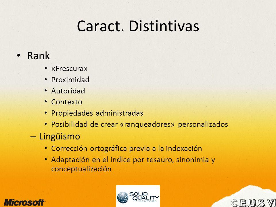 Caract. Distintivas Rank «Frescura» Proximidad Autoridad Contexto Propiedades administradas Posibilidad de crear «ranqueadores» personalizados – Lingü