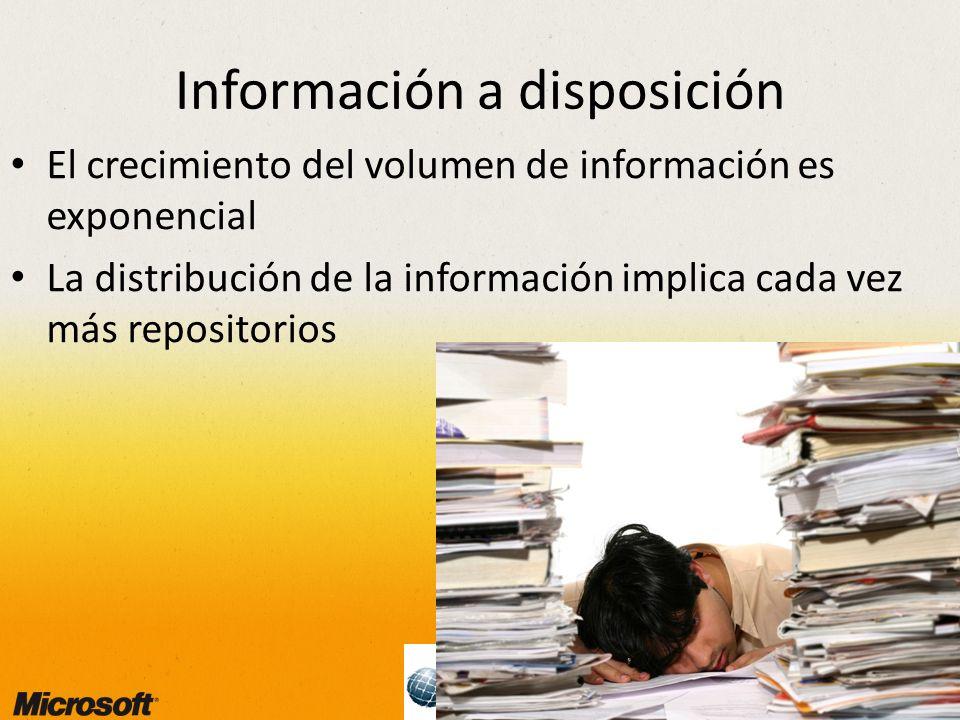 3 Información a disposición El crecimiento del volumen de información es exponencial La distribución de la información implica cada vez más repositorios