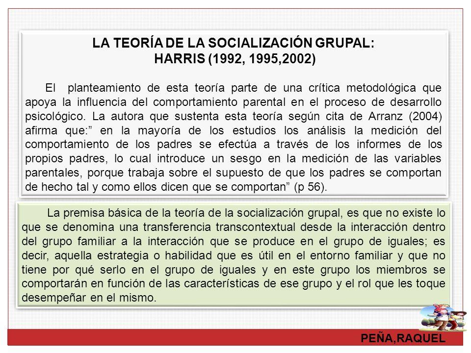 PEÑA,RAQUEL LA TEORÍA DE LA SOCIALIZACIÓN GRUPAL: HARRIS (1992, 1995,2002) El planteamiento de esta teoría parte de una crítica metodológica que apoya