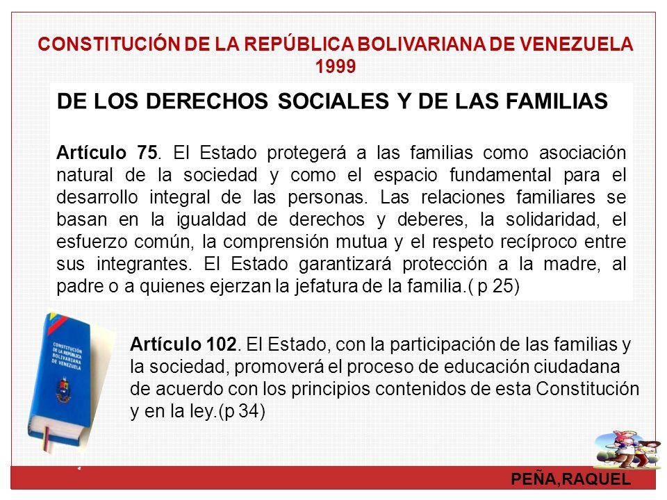 PEÑA,RAQUEL DE LOS DERECHOS SOCIALES Y DE LAS FAMILIAS Artículo 75. El Estado protegerá a las familias como asociación natural de la sociedad y como e