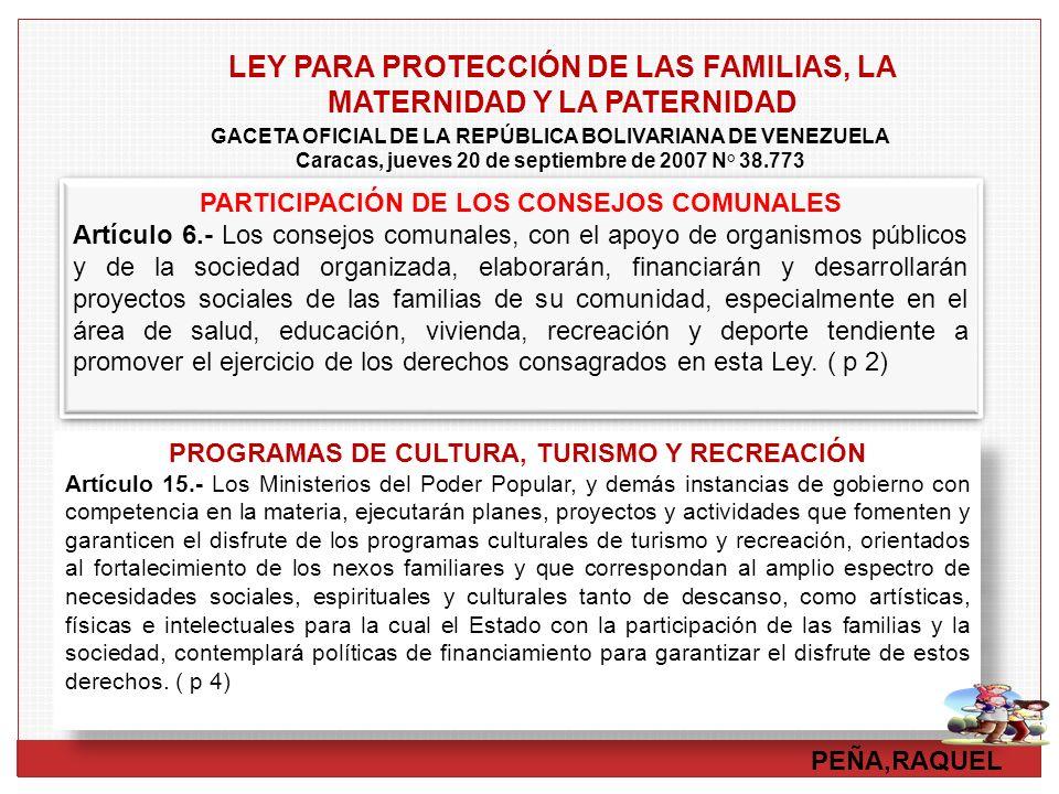 PEÑA,RAQUEL LEY PARA PROTECCIÓN DE LAS FAMILIAS, LA MATERNIDAD Y LA PATERNIDAD PARTICIPACIÓN DE LOS CONSEJOS COMUNALES Artículo 6.- Los consejos comun