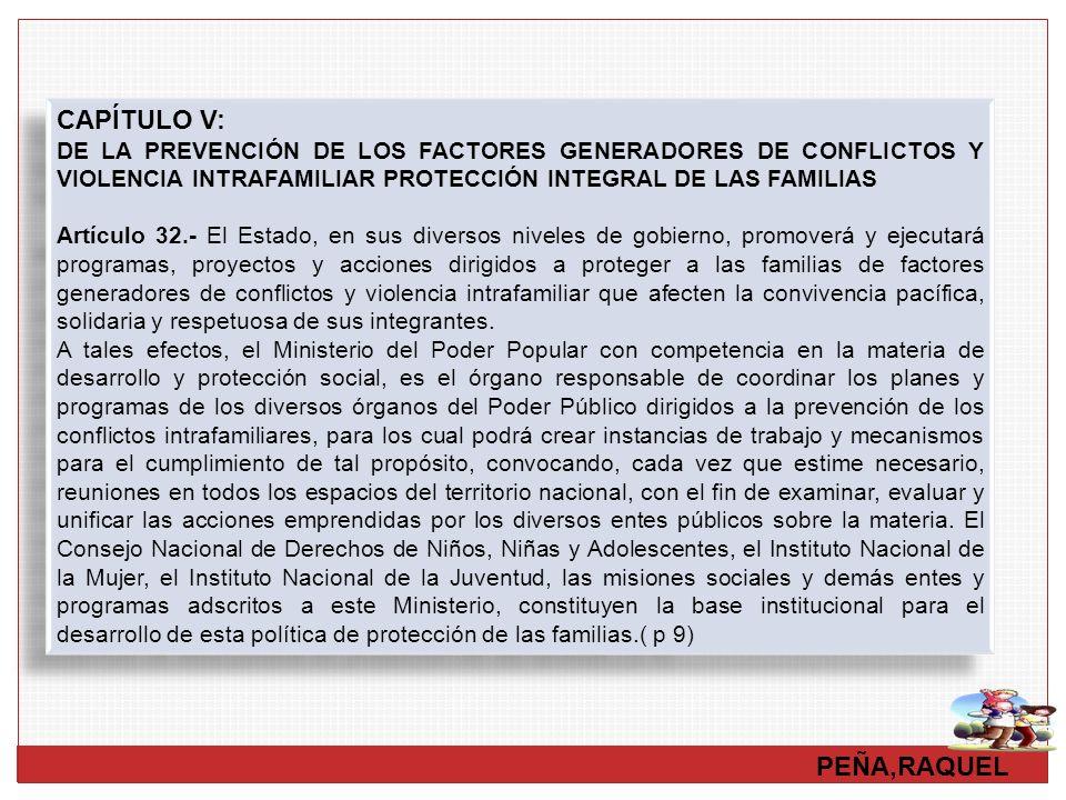 PEÑA,RAQUEL CAPÍTULO V: DE LA PREVENCIÓN DE LOS FACTORES GENERADORES DE CONFLICTOS Y VIOLENCIA INTRAFAMILIAR PROTECCIÓN INTEGRAL DE LAS FAMILIAS Artíc