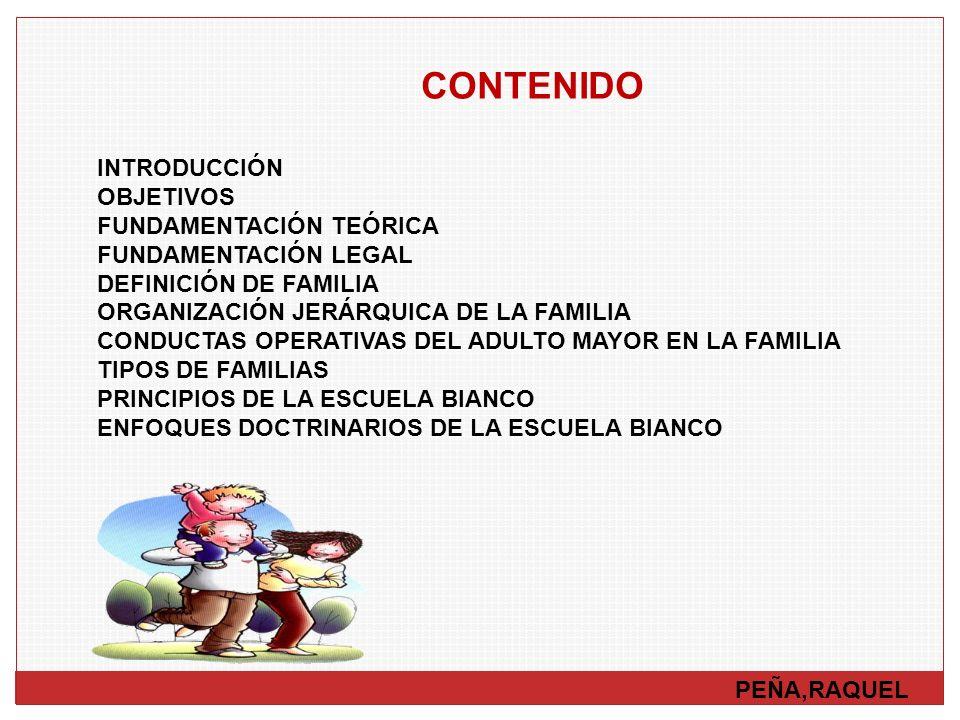 CONTENIDO PEÑA,RAQUEL INTRODUCCIÓN OBJETIVOS FUNDAMENTACIÓN TEÓRICA FUNDAMENTACIÓN LEGAL DEFINICIÓN DE FAMILIA ORGANIZACIÓN JERÁRQUICA DE LA FAMILIA C