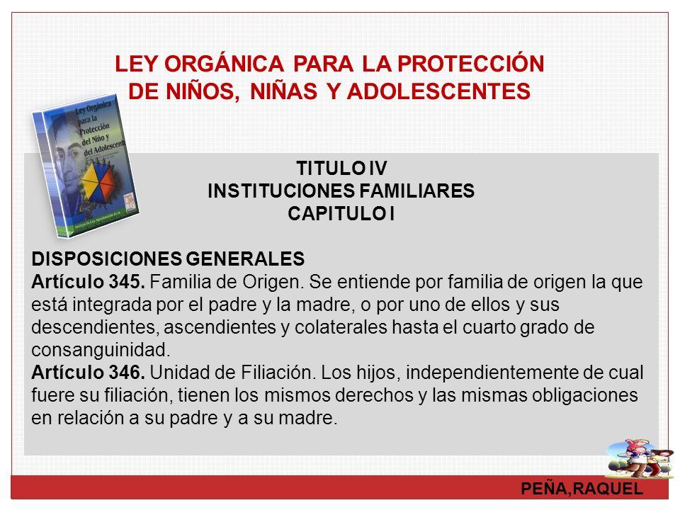 PEÑA,RAQUEL TITULO IV INSTITUCIONES FAMILIARES CAPITULO I DISPOSICIONES GENERALES Artículo 345. Familia de Origen. Se entiende por familia de origen l