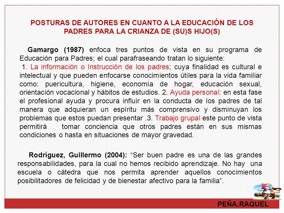 PEÑA,RAQUEL POSTURAS DE AUTORES EN CUANTO A LA EDUCACIÓN DE LOS PADRES PARA LA CRIANZA DE (SU)S HIJO(S) Rodríguez, Guillermo (2004): Ser buen padre es