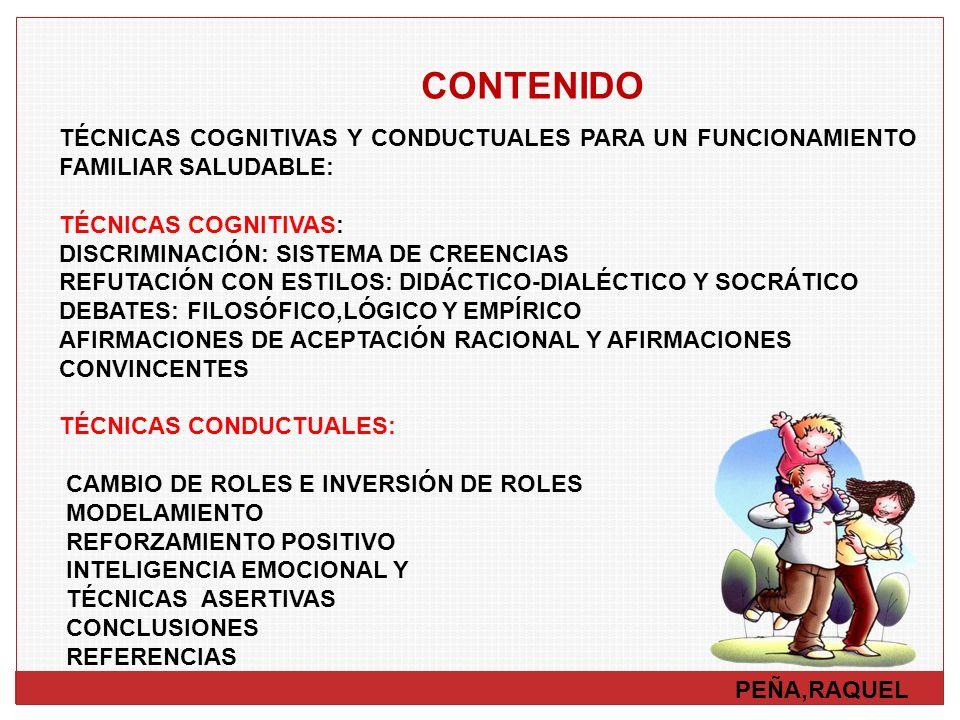 CONTENIDO PEÑA,RAQUEL TÉCNICAS COGNITIVAS Y CONDUCTUALES PARA UN FUNCIONAMIENTO FAMILIAR SALUDABLE: TÉCNICAS COGNITIVAS: DISCRIMINACIÓN: SISTEMA DE CR