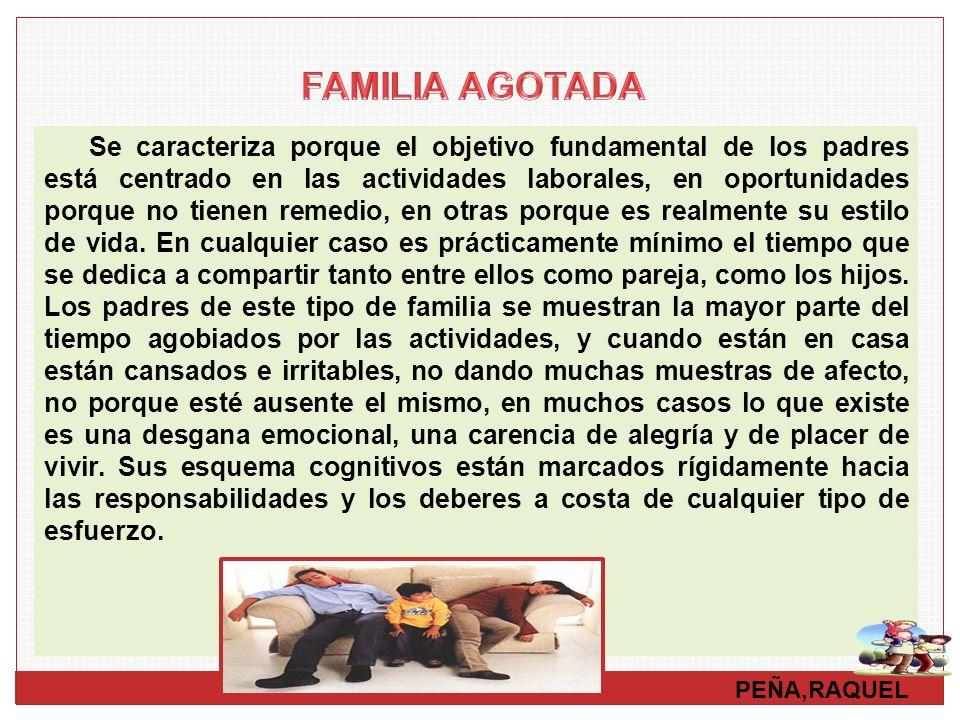PEÑA,RAQUEL Se caracteriza porque el objetivo fundamental de los padres está centrado en las actividades laborales, en oportunidades porque no tienen