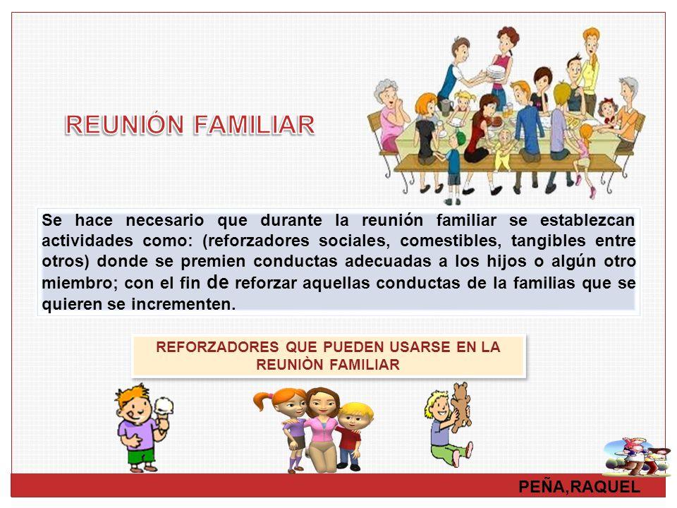 PEÑA,RAQUEL Se hace necesario que durante la reunión familiar se establezcan actividades como: (reforzadores sociales, comestibles, tangibles entre ot