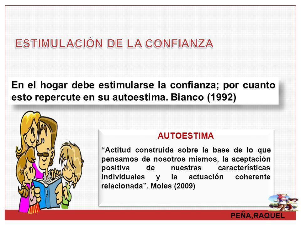 PEÑA,RAQUEL En el hogar debe estimularse la confianza; por cuanto esto repercute en su autoestima. Bianco (1992) AUTOESTIMA Actitud construida sobre l