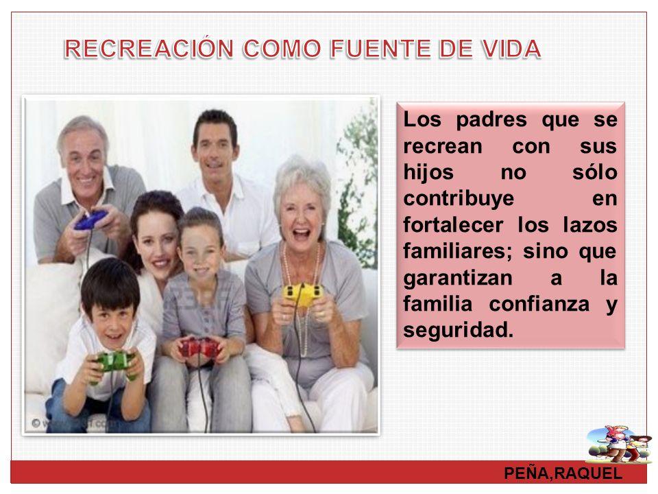 PEÑA,RAQUEL Los padres que se recrean con sus hijos no sólo contribuye en fortalecer los lazos familiares; sino que garantizan a la familia confianza
