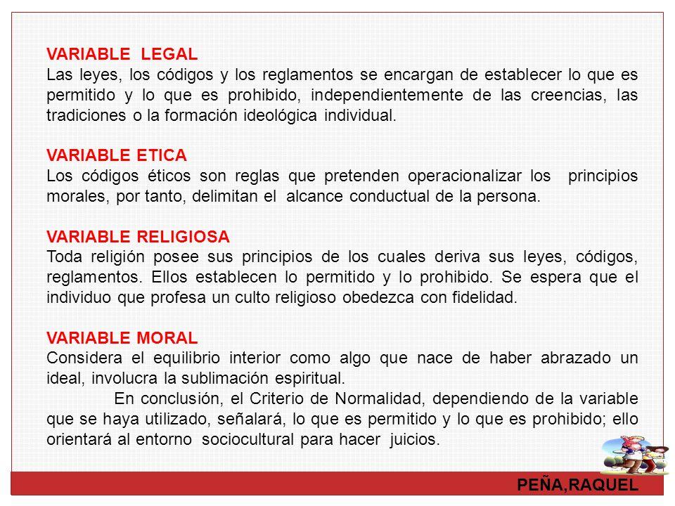 PEÑA,RAQUEL VARIABLE LEGAL Las leyes, los códigos y los reglamentos se encargan de establecer lo que es permitido y lo que es prohibido, independiente