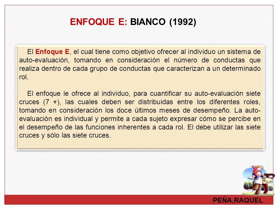 PEÑA,RAQUEL ENFOQUE E: BIANCO (1992) El Enfoque E, el cual tiene como objetivo ofrecer al individuo un sistema de auto-evaluación, tomando en consider