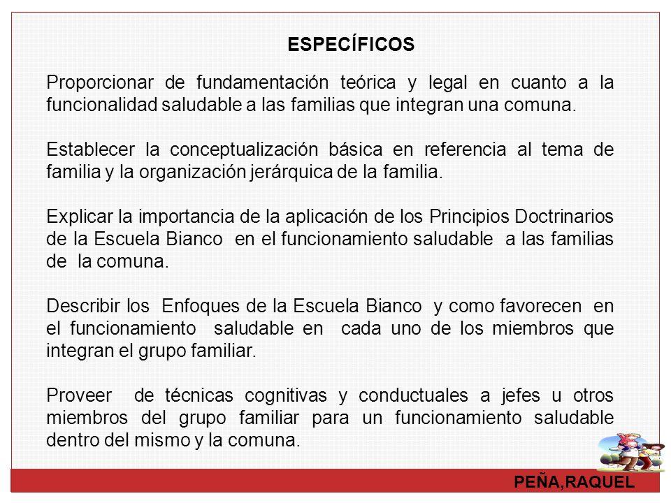 PEÑA,RAQUEL ESPECÍFICOS Proporcionar de fundamentación teórica y legal en cuanto a la funcionalidad saludable a las familias que integran una comuna.