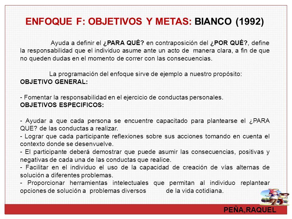 PEÑA,RAQUEL ENFOQUE F: OBJETIVOS Y METAS: BIANCO (1992) Ayuda a definir el ¿PARA QUÉ? en contraposición del ¿POR QUÉ?, define la responsabilidad que e