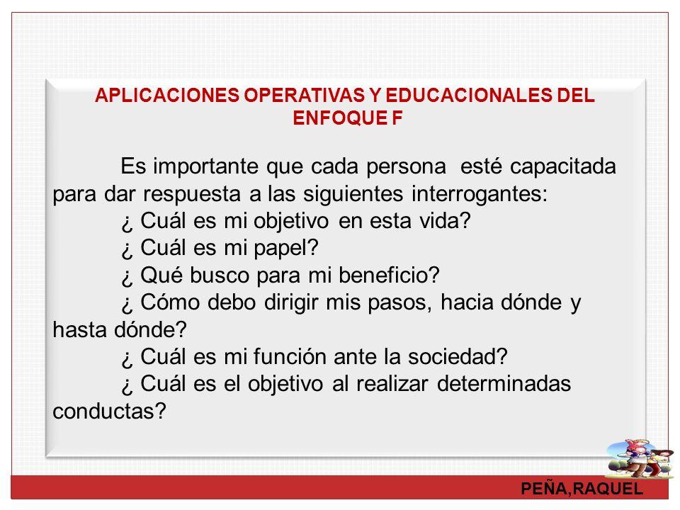 PEÑA,RAQUEL APLICACIONES OPERATIVAS Y EDUCACIONALES DEL ENFOQUE F Es importante que cada persona esté capacitada para dar respuesta a las siguientes i