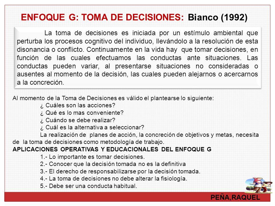 PEÑA,RAQUEL ENFOQUE G: TOMA DE DECISIONES: Bianco (1992) Al momento de la Toma de Decisiones es válido el plantearse lo siguiente: ¿ Cuáles son las ac