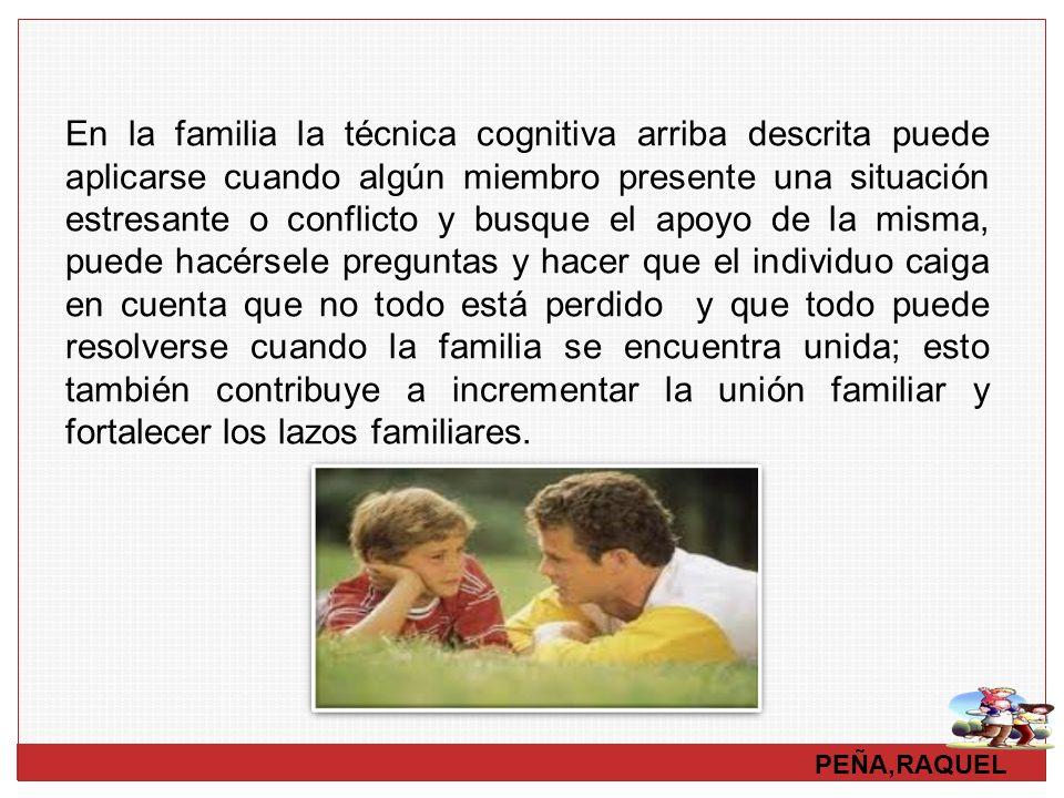 PEÑA,RAQUEL En la familia la técnica cognitiva arriba descrita puede aplicarse cuando algún miembro presente una situación estresante o conflicto y bu