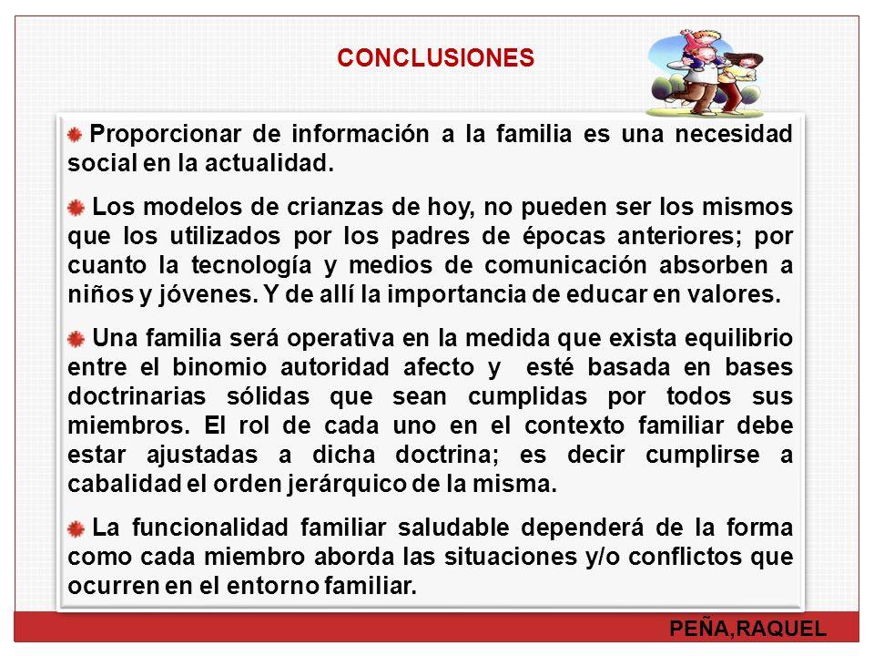 PEÑA,RAQUEL CONCLUSIONES Proporcionar de información a la familia es una necesidad social en la actualidad. Los modelos de crianzas de hoy, no pueden