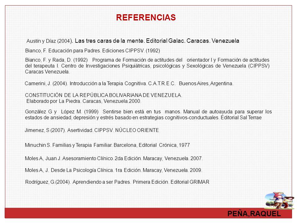 PEÑA,RAQUEL REFERENCIAS Austín y Díaz (2004 ). Las tres caras de la mente. Editorial Galac. Caracas. Venezuela Bianco, F. y Rada, D. (1992) Programa d