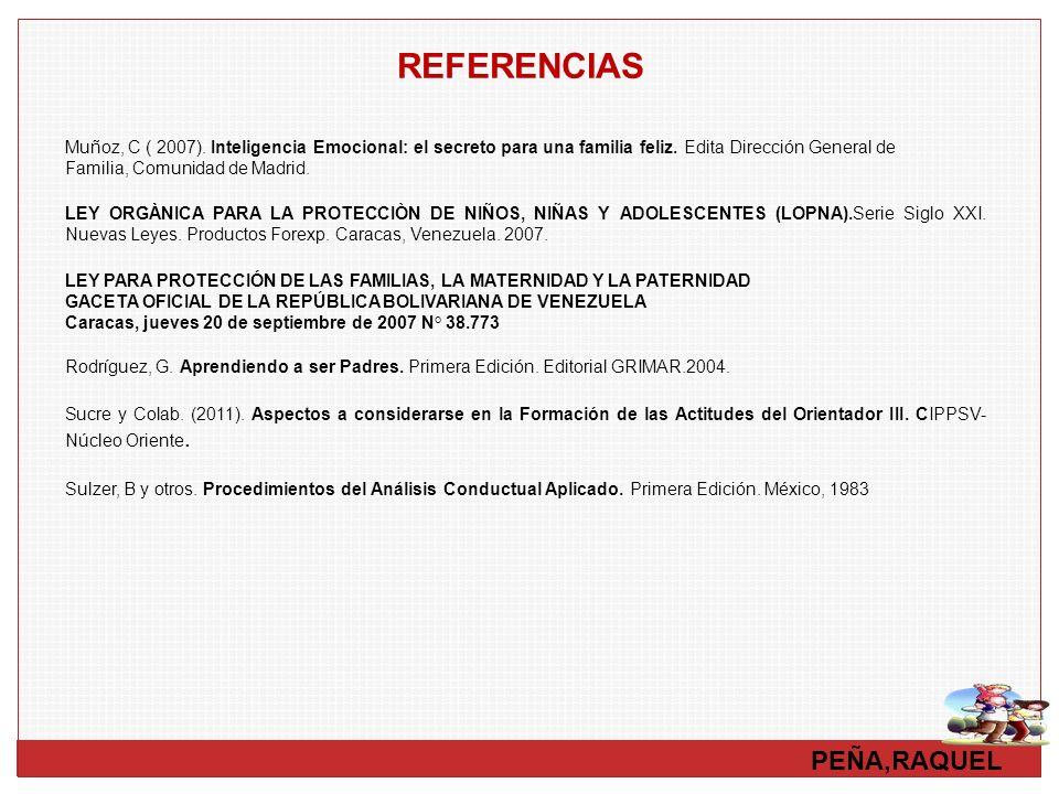 PEÑA,RAQUEL REFERENCIAS LEY ORGÀNICA PARA LA PROTECCIÒN DE NIÑOS, NIÑAS Y ADOLESCENTES (LOPNA).Serie Siglo XXI. Nuevas Leyes. Productos Forexp. Caraca