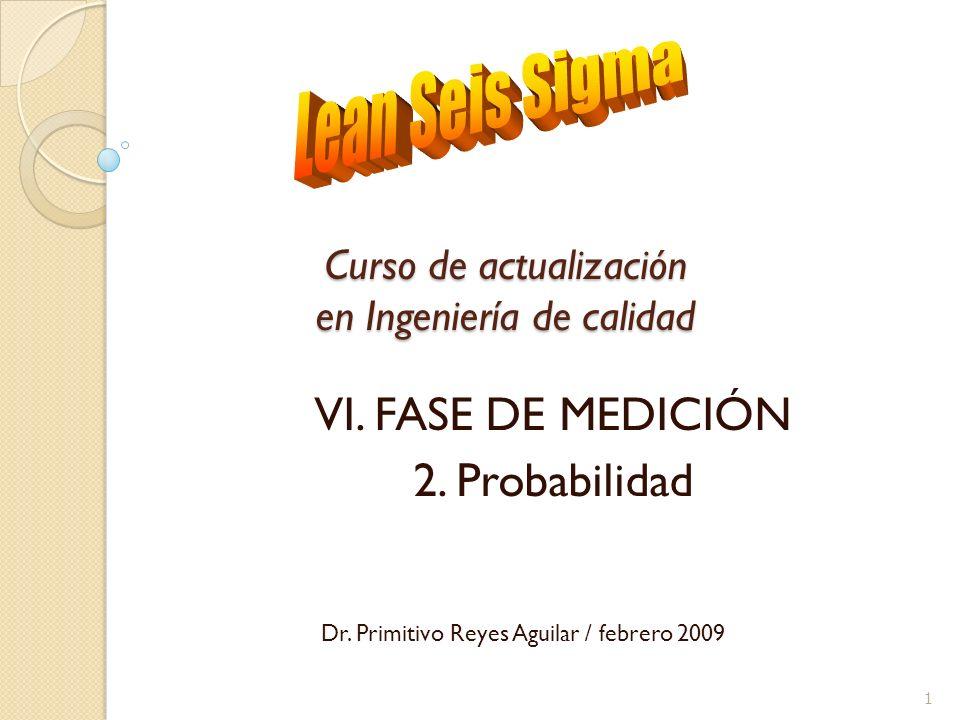 Curso de actualización en Ingeniería de calidad I.VI. FASE DE MEDICIÓN II.2. Probabilidad Dr. Primitivo Reyes Aguilar / febrero 2009 1