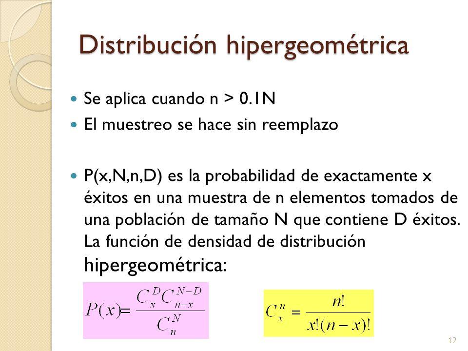 12 Distribución hipergeométrica Se aplica cuando n > 0.1N El muestreo se hace sin reemplazo P(x,N,n,D) es la probabilidad de exactamente x éxitos en u