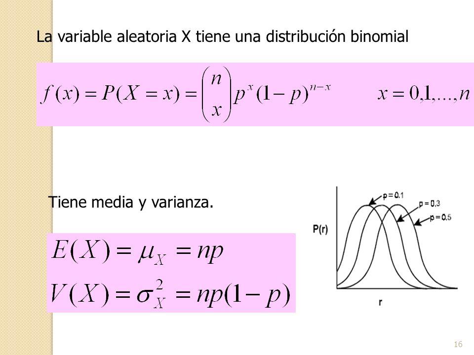 16 La variable aleatoria X tiene una distribución binomial Tiene media y varianza.