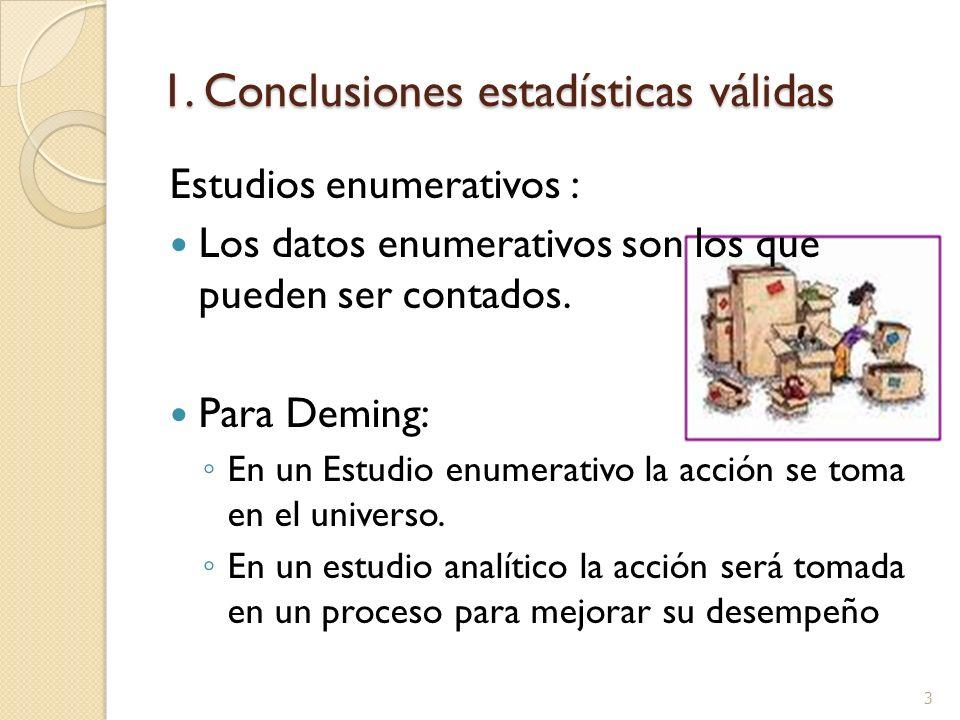 3 1. Conclusiones estadísticas válidas Estudios enumerativos : Los datos enumerativos son los que pueden ser contados. Para Deming: En un Estudio enum