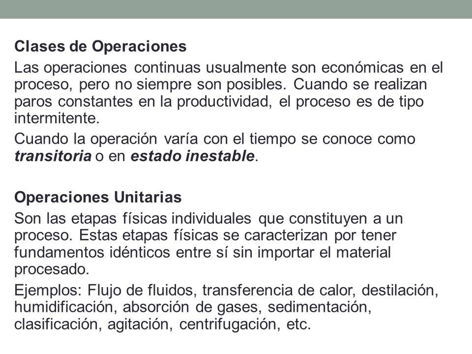 Clases de Operaciones Las operaciones continuas usualmente son económicas en el proceso, pero no siempre son posibles. Cuando se realizan paros consta