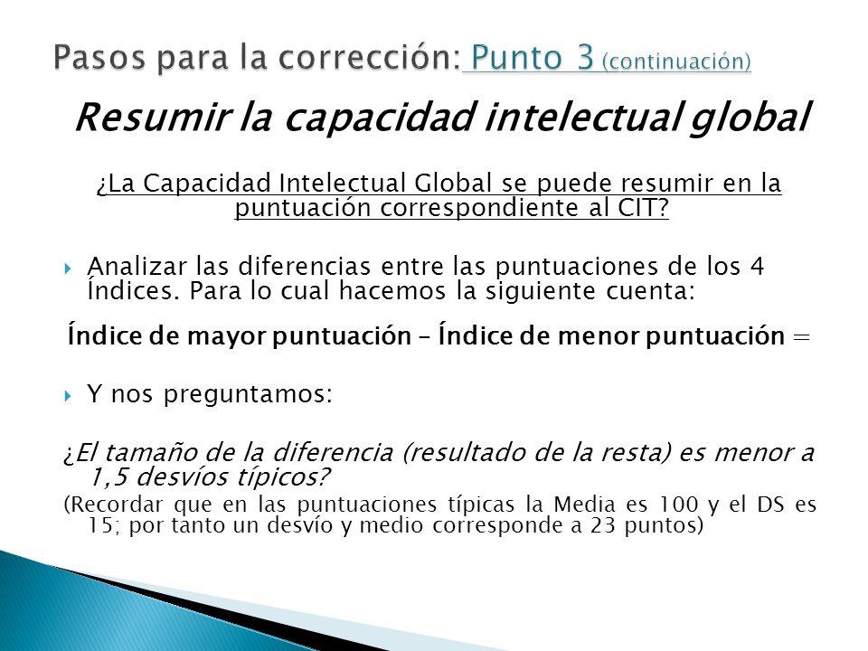 Resumir la capacidad intelectual global ¿La Capacidad Intelectual Global se puede resumir en la puntuación correspondiente al CIT? Analizar las difere