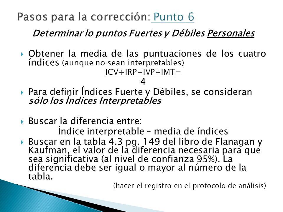 Determinar lo puntos Fuertes y Débiles Personales Obtener la media de las puntuaciones de los cuatro índices (aunque no sean interpretables) ICV+IRP+I