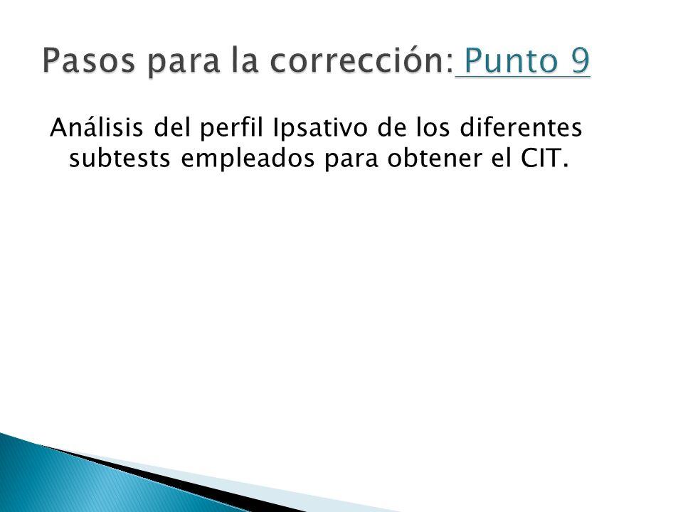Análisis del perfil Ipsativo de los diferentes subtests empleados para obtener el CIT.