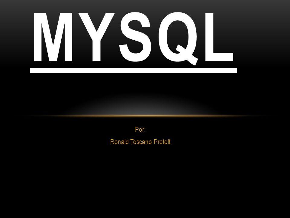 Por: Ronald Toscano Pretelt MYSQL