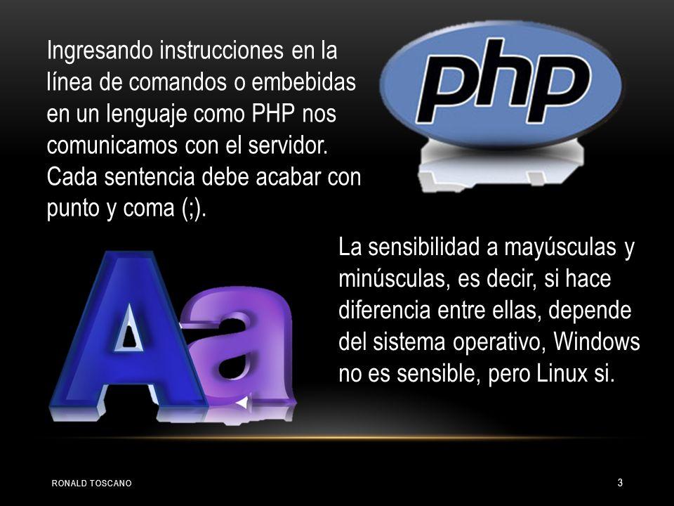 Ingresando instrucciones en la línea de comandos o embebidas en un lenguaje como PHP nos comunicamos con el servidor. Cada sentencia debe acabar con p