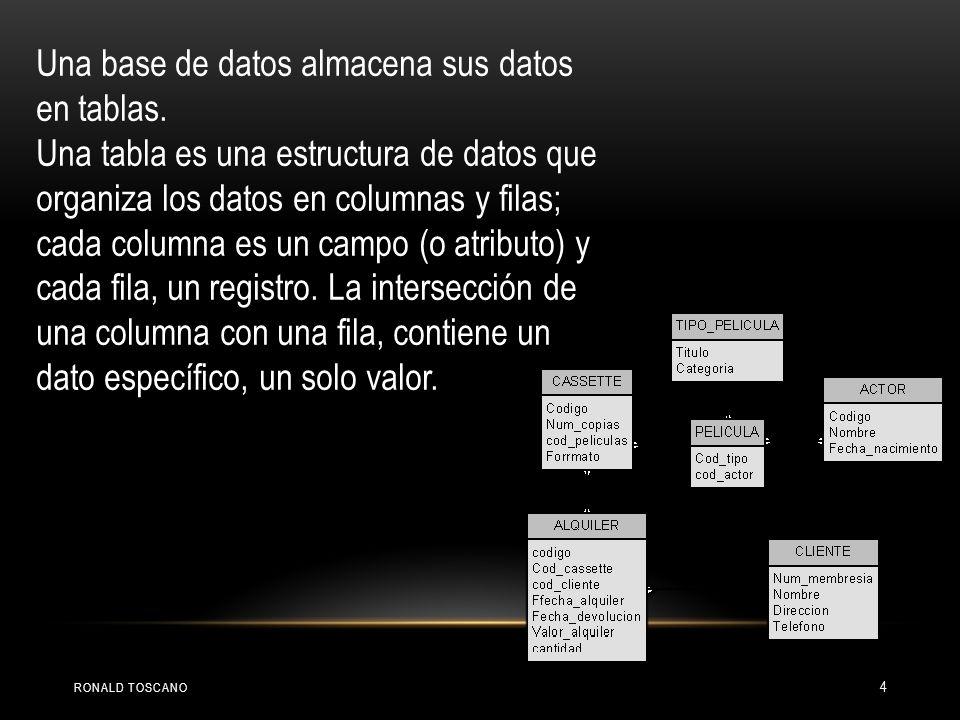 Una base de datos almacena sus datos en tablas. Una tabla es una estructura de datos que organiza los datos en columnas y filas; cada columna es un ca