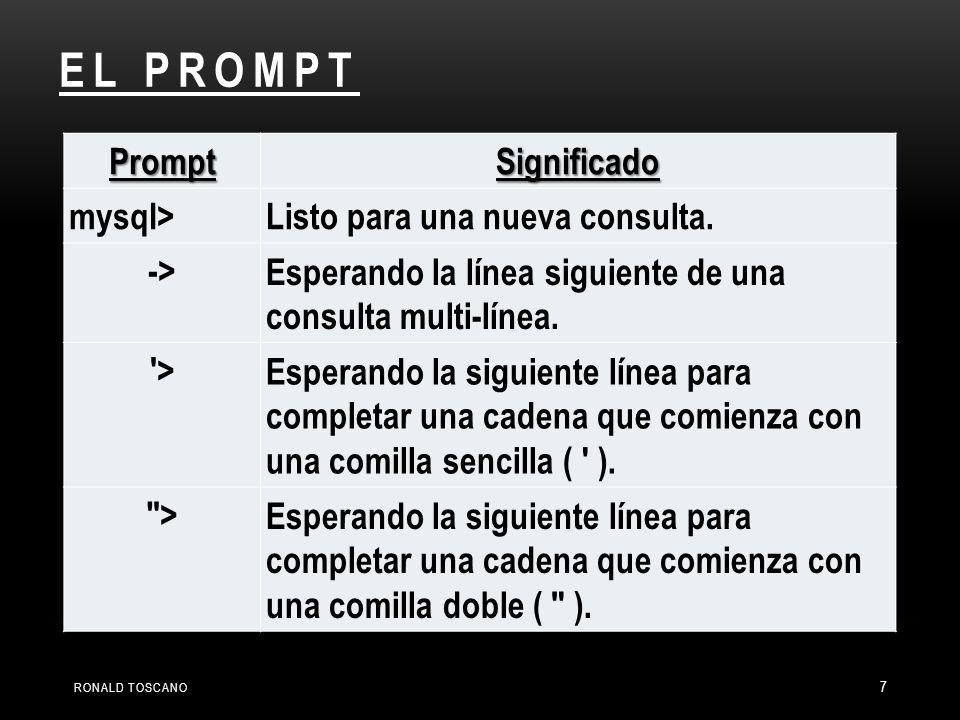 7 PromptSignificado mysql>Listo para una nueva consulta. ->Esperando la línea siguiente de una consulta multi-línea. '>Esperando la siguiente línea pa