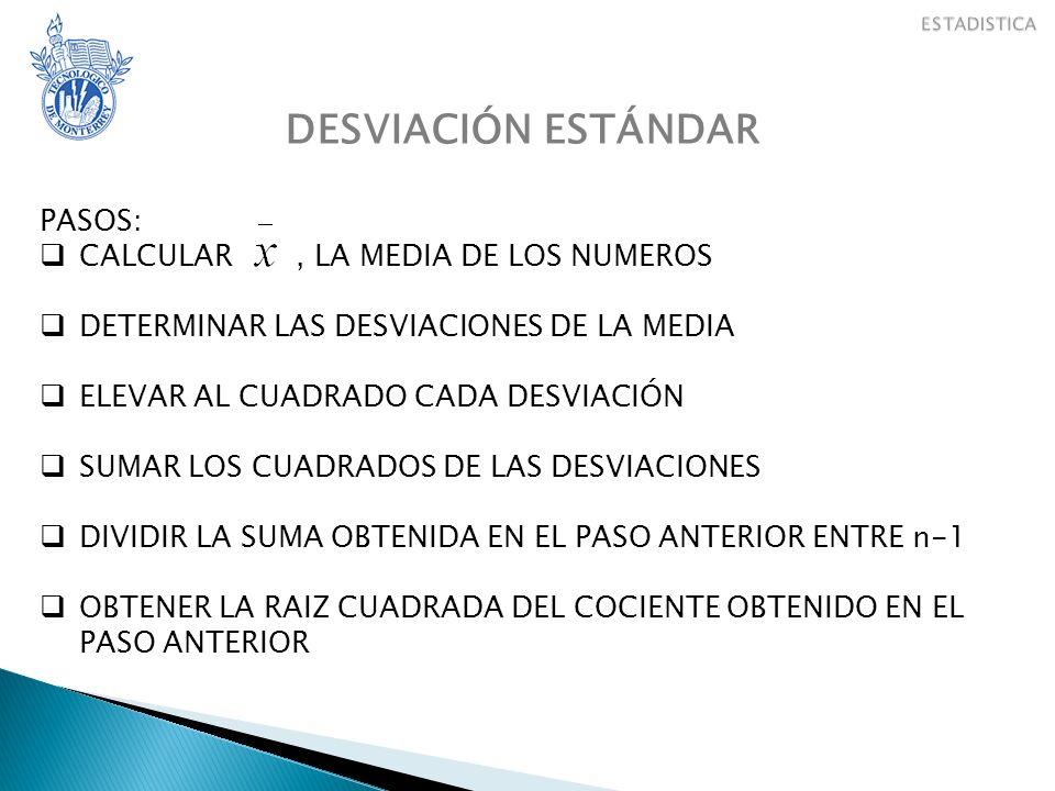 DESVIACIÓN ESTÁNDAR PASOS: CALCULAR, LA MEDIA DE LOS NUMEROS DETERMINAR LAS DESVIACIONES DE LA MEDIA ELEVAR AL CUADRADO CADA DESVIACIÓN SUMAR LOS CUADRADOS DE LAS DESVIACIONES DIVIDIR LA SUMA OBTENIDA EN EL PASO ANTERIOR ENTRE n-1 OBTENER LA RAIZ CUADRADA DEL COCIENTE OBTENIDO EN EL PASO ANTERIOR
