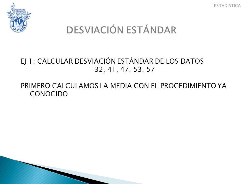 DESVIACIÓN ESTÁNDAR EJ 1: CALCULAR DESVIACIÓN ESTÁNDAR DE LOS DATOS 32, 41, 47, 53, 57 PRIMERO CALCULAMOS LA MEDIA CON EL PROCEDIMIENTO YA CONOCIDO