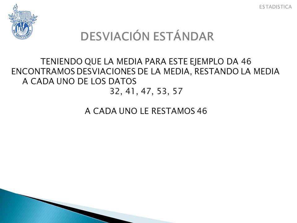 DESVIACIÓN ESTÁNDAR TENIENDO QUE LA MEDIA PARA ESTE EJEMPLO DA 46 ENCONTRAMOS DESVIACIONES DE LA MEDIA, RESTANDO LA MEDIA A CADA UNO DE LOS DATOS 32, 41, 47, 53, 57 A CADA UNO LE RESTAMOS 46