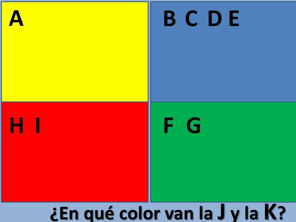 A BCE FGHI D ¿En qué color van la J y la K ?