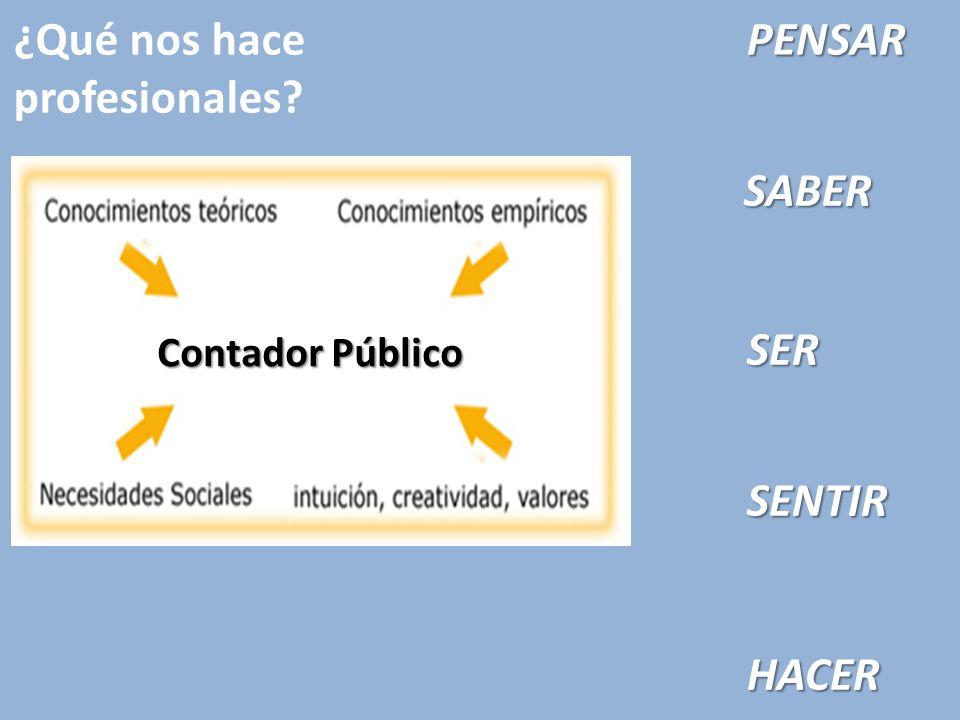 ¿Qué nos hace profesionales? Contador Público SABER SENTIR HACER PENSAR SER