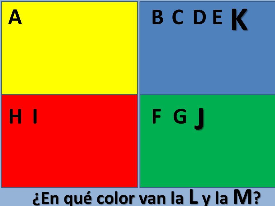 A BCE FGHI D ¿En qué color van la L y la M ? J K