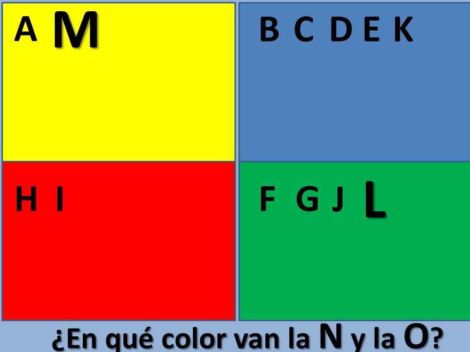 A BCE FGHI D ¿En qué color van la N y la O ? J K L M