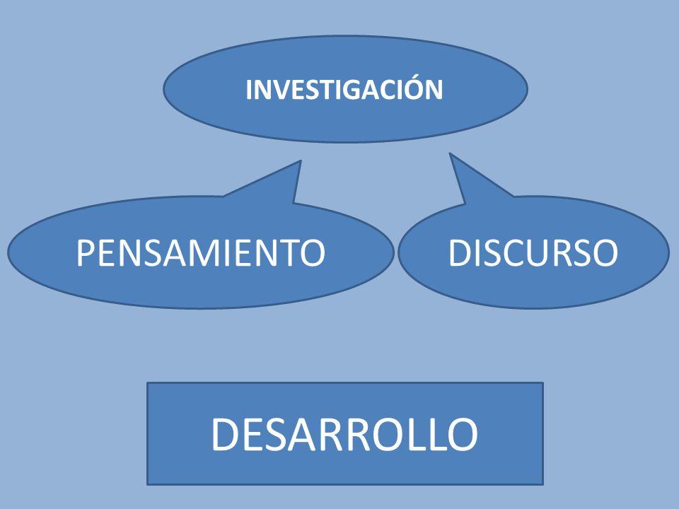 INVESTIGACIÓN DESARROLLO DISCURSO PENSAMIENTO