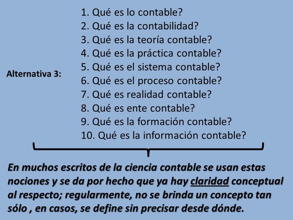 1. Qué es lo contable? 2. Qué es la contabilidad? 3. Qué es la teoría contable? 4. Qué es la práctica contable? 5. Qué es el sistema contable? 6. Qué
