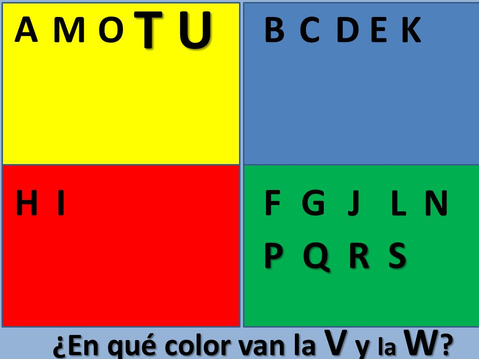 A BCE FGHI D J K L M N O ¿En qué color van la V y la W ? P Q R S T U