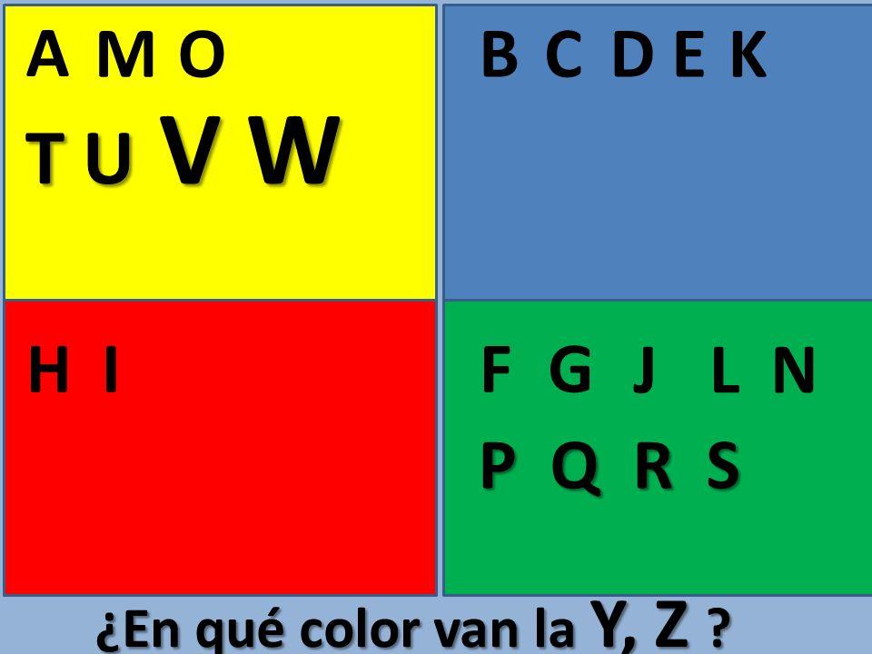 A BCE FGHI D J K L M N O ¿En qué color van la Y, Z ? P Q R S T U V W