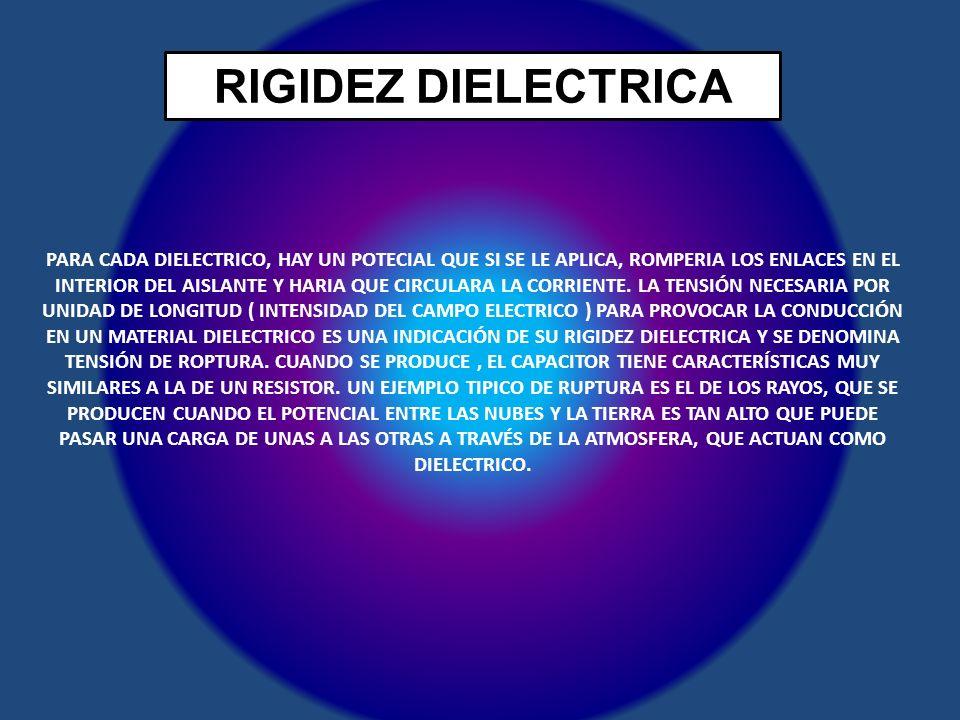 RIGIDEZ DIELECTRICA PARA CADA DIELECTRICO, HAY UN POTECIAL QUE SI SE LE APLICA, ROMPERIA LOS ENLACES EN EL INTERIOR DEL AISLANTE Y HARIA QUE CIRCULARA