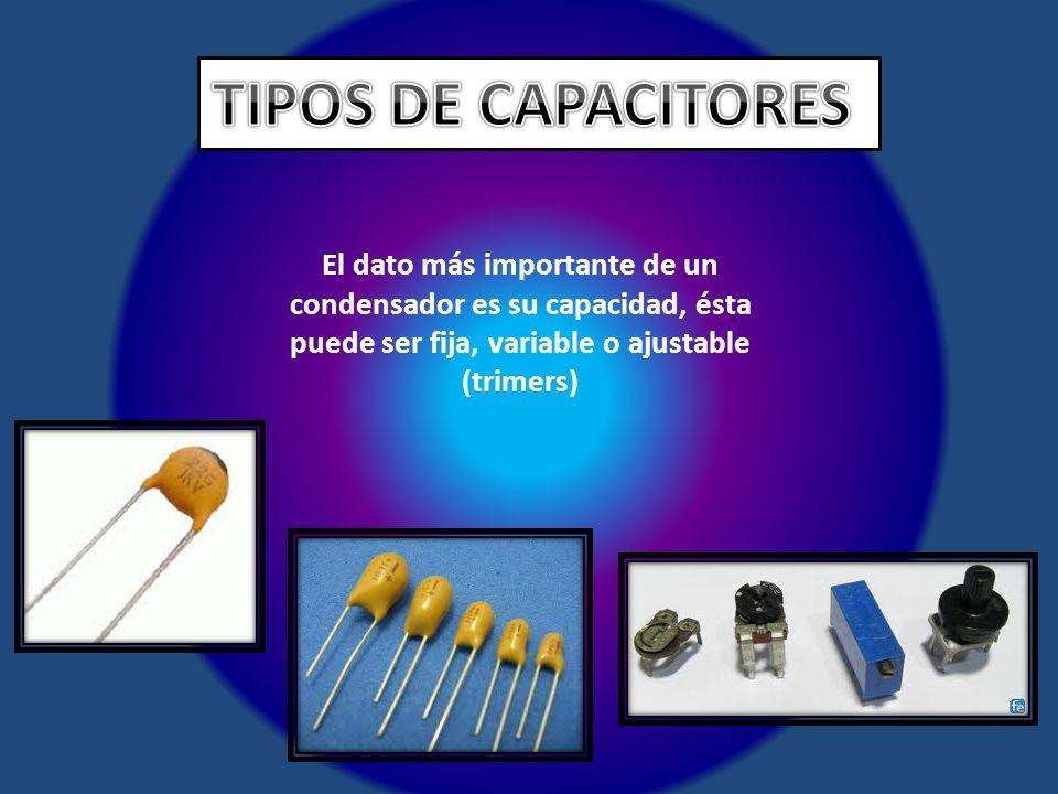 El dato más importante de un condensador es su capacidad, ésta puede ser fija, variable o ajustable (trimers)